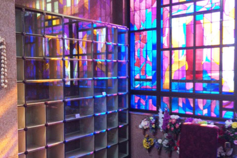 Glass front columbarium in Edmonton Alberta