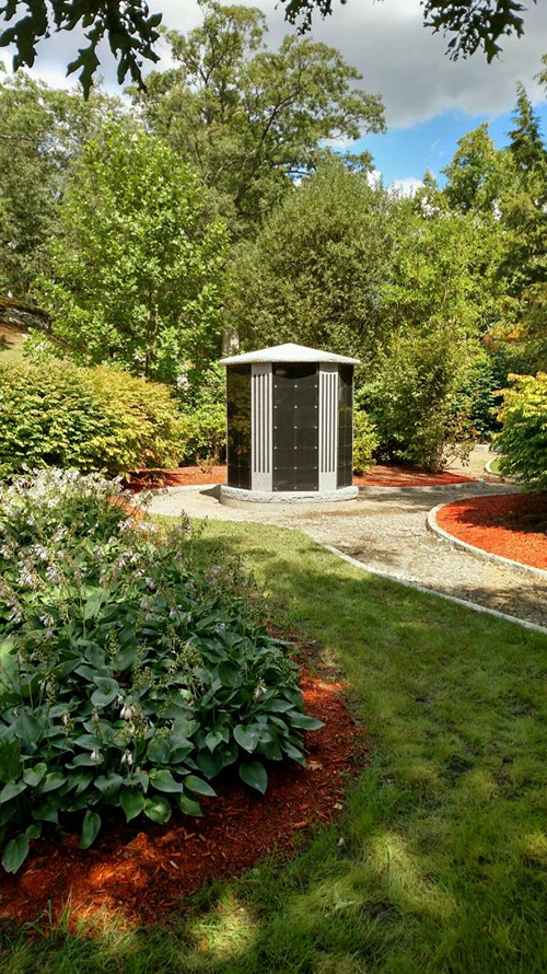 idyllic columbaria garden with landscaped pathways